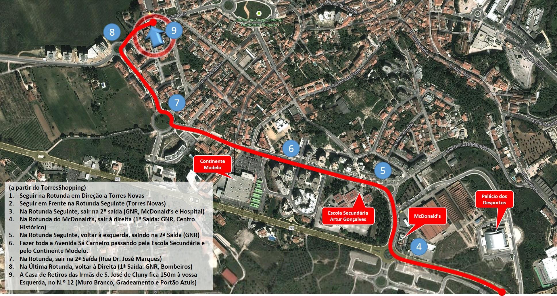 Mapa Casa de Retiros Irmãs de S. José de Cluny
